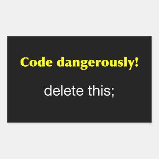 Código peligroso pegatina rectangular