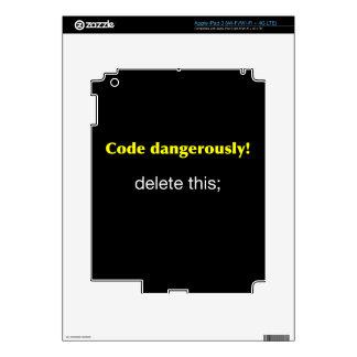 Código peligroso pegatinas skins para iPad 3