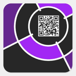 código púrpura de la diana QR Pegatina Cuadrada