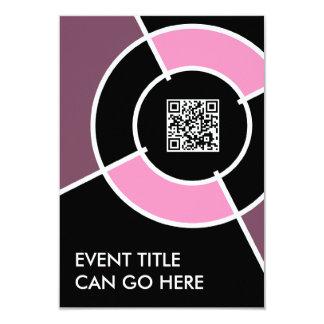 """código rosado de la diana QR Invitación 3.5"""" X 5"""""""
