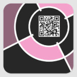código rosado de la diana QR Pegatina Cuadrada