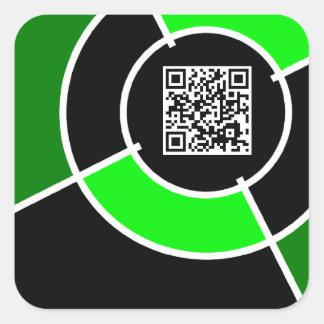 código verde de la diana QR Pegatina Cuadrada