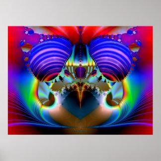 Codornices de oro del fractal póster