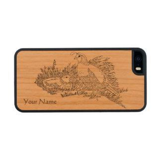 Codornices masculinas y femeninas en diseño de funda de cerezo carved® para iPhone 5 slim