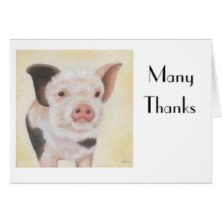 Cody el cochinillo le agradece Notecard Tarjeta Pequeña