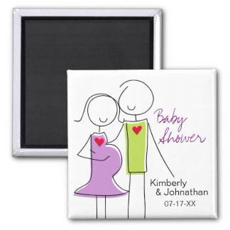 Coed Baby Shower Magnets, Purple and Green 2 Inch Square Magnet