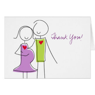 Coed Baby Shower Thank You Cards, Expecting Couple Stationery Note Card