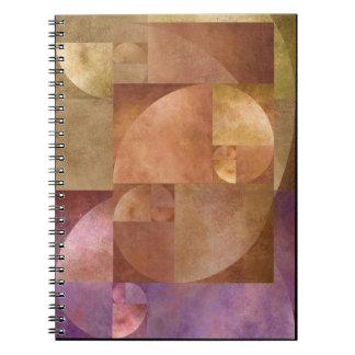 Coeficiente de oro, espiral de Fibonacci Libreta