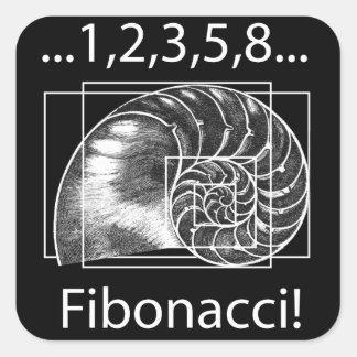Coeficiente de oro, espiral de Fibonacci Pegatina Cuadrada