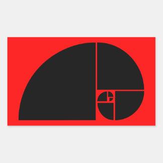 Coeficiente de oro, espiral de Fibonacci Pegatina Rectangular