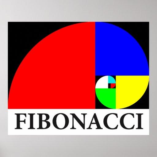 Coeficiente de oro, espiral de Fibonacci Póster