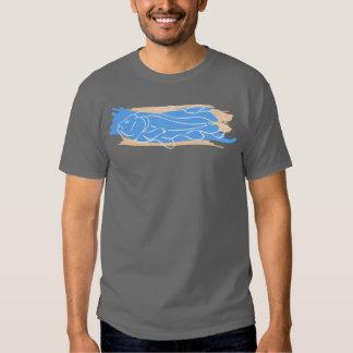 Coelacanth con el azul y el moreno camisas
