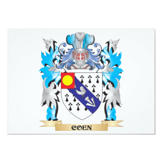 Coen Coat of Arms - Family Crest 5x7 Paper Invitation Card