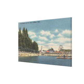 Coeur d'Alene, ID - View of City Beach & Pier Canvas Print
