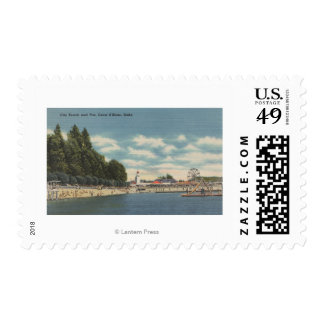 Coeur d'Alene, ID - View of City Beach & Pier Postage