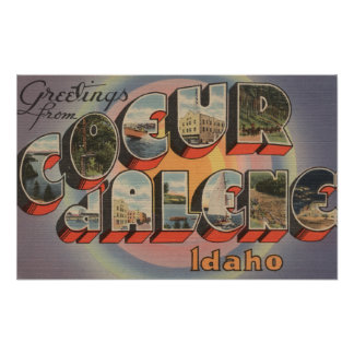 Coeur d'Alene, Idaho - Large Letter Scenes Poster