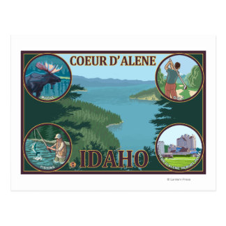 Coeur D'Alene, IdahoScenic Travel Poster Postcard