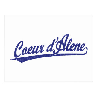 Coeur d'Alene script logo in blue Postcard