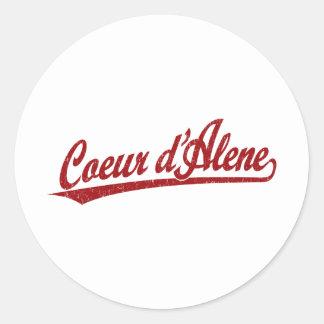 Coeur d'Alene script logo in red Classic Round Sticker