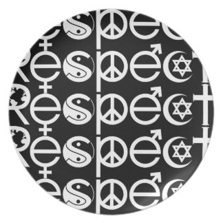Coexist with Respect - Peace Kindness & Tolerance Melamine Plate