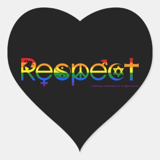 Coexista con orgullo gay del respecto calcomanía de corazón