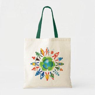 Coexista y la paz de mundo va verde bolsas