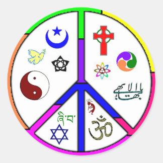 Coexistencia pacífica pegatina redonda
