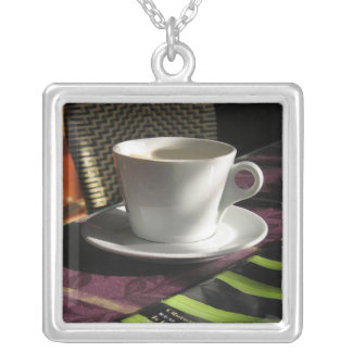 cofee cup square pendant necklace