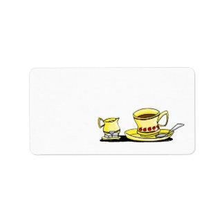 Coffe, crema y azúcar de la mañana etiquetas de dirección