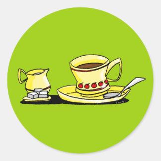 Coffe, crema y azúcar de la mañana pegatina redonda