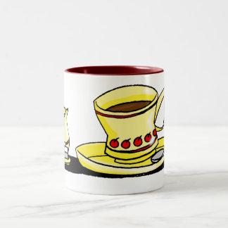 Coffe, crema y azúcar de la mañana taza dos tonos