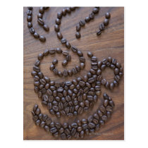 Coffe cup illustrated using coffee beans postcard