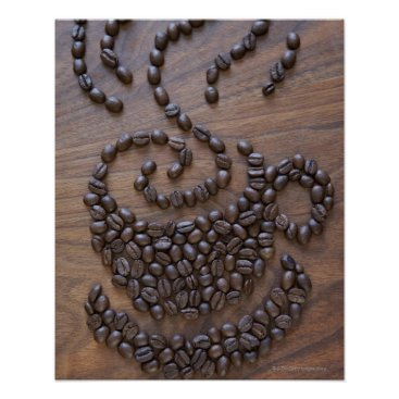 Coffee Themed Coffe cup illustrated using coffee beans poster