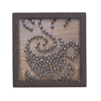 Coffe cup illustrated using coffee beans premium jewelry boxes