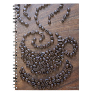 Coffe cup illustrated using coffee beans spiral notebook