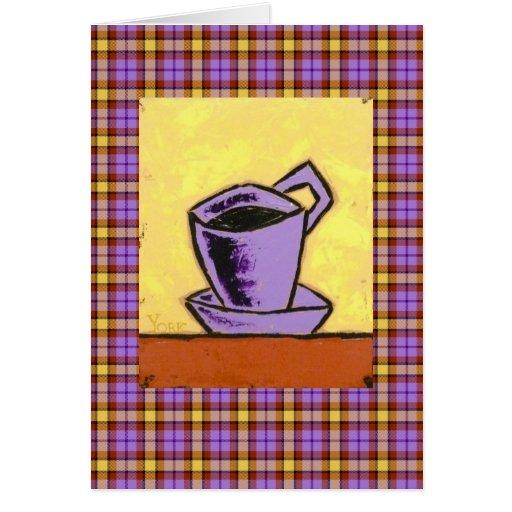 coffe en tarjeta de la tela escocesa