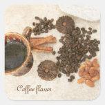 Coffe, granos de café, canela pegatina cuadrada