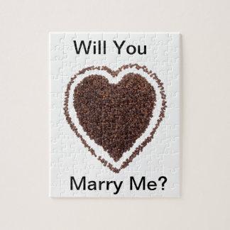 Coffe Lover Heart Gift Present Marriage Unique Puzzle