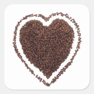 Coffe Lover Heart Gift Present Marriage Unique Square Sticker