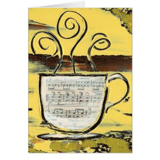 Coffe y música Notecard - arte de la taza de Dan Tarjeta Pequeña