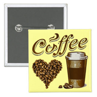 Coffee 2 Inch Square Button