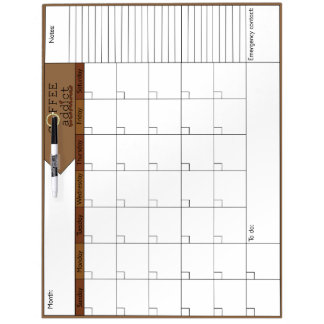 Coffee Addict 6W Calendar Dry-Erase Board
