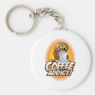 Coffee Addict! Basic Round Button Keychain