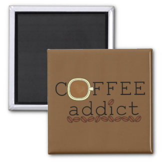 Coffee Addict Beans - Choose Color 2 Inch Square Magnet