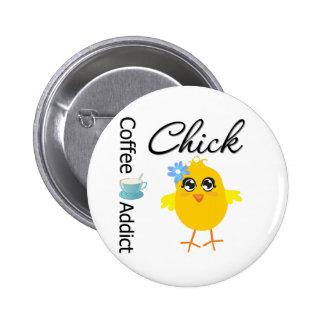 Coffee Addict Chick Button