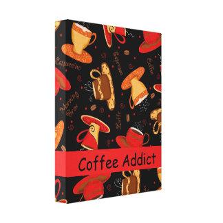 Coffee Addict Customizable Red Black Coffee Cup Canvas Print