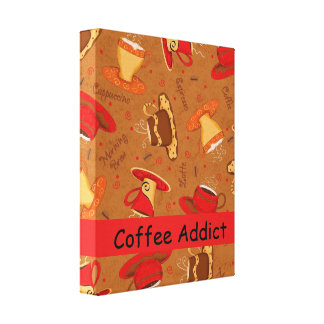 Coffee Addict Customize Red & Brown Coffee Cup Canvas Print