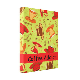 Coffee Addict Customize Red Lime Green Coffee Cup Canvas Print