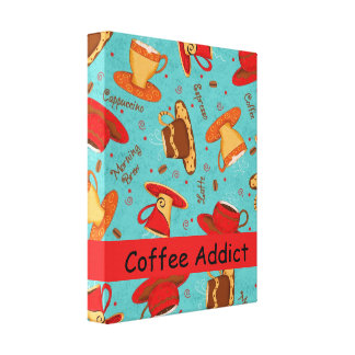 Coffee Addict Customize Red Turquoise Coffee Cup Canvas Print