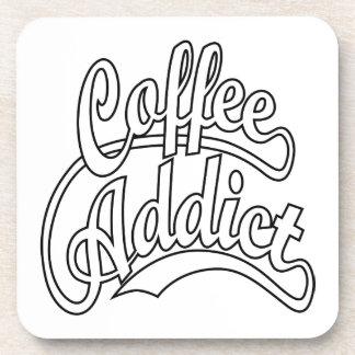 Coffee Addict in Black Drink Coaster